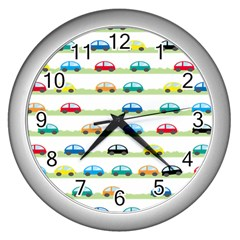 Small Car Red Yellow Blue Orange Black Kids Wall Clocks (silver)  by Mariart