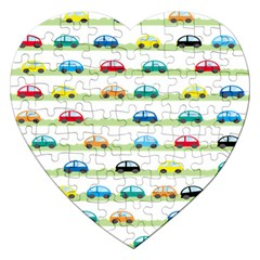 Small Car Red Yellow Blue Orange Black Kids Jigsaw Puzzle (heart) by Mariart