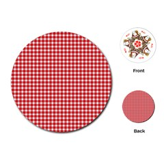 Plaid Red White Line Playing Cards (round)  by Mariart