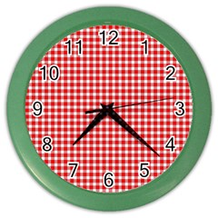 Plaid Red White Line Color Wall Clocks by Mariart