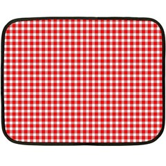 Plaid Red White Line Fleece Blanket (mini) by Mariart