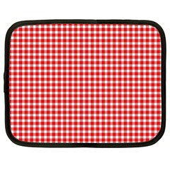 Plaid Red White Line Netbook Case (xl)  by Mariart