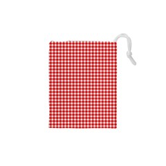 Plaid Red White Line Drawstring Pouches (xs)  by Mariart
