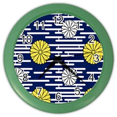 Sunflower Line Blue Yellpw Color Wall Clocks by Mariart
