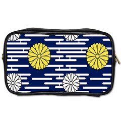 Sunflower Line Blue Yellpw Toiletries Bags by Mariart