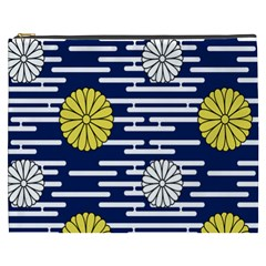 Sunflower Line Blue Yellpw Cosmetic Bag (xxxl)  by Mariart