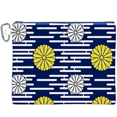 Sunflower Line Blue Yellpw Canvas Cosmetic Bag (xxxl) by Mariart
