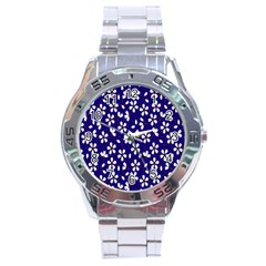 Star Flower Blue White Stainless Steel Analogue Watch by Mariart