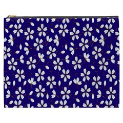 Star Flower Blue White Cosmetic Bag (xxxl)  by Mariart