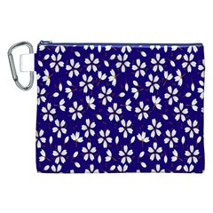 Star Flower Blue White Canvas Cosmetic Bag (xxl) by Mariart