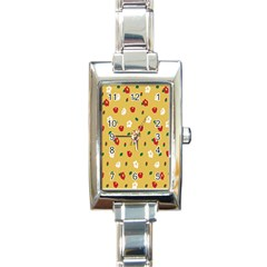 Tulip Sunflower Sakura Flower Floral Red White Leaf Green Rectangle Italian Charm Watch by Mariart