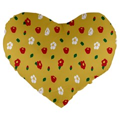 Tulip Sunflower Sakura Flower Floral Red White Leaf Green Large 19  Premium Flano Heart Shape Cushions by Mariart