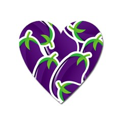 Vegetable Eggplant Purple Green Heart Magnet by Mariart