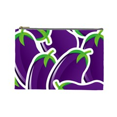 Vegetable Eggplant Purple Green Cosmetic Bag (large)  by Mariart