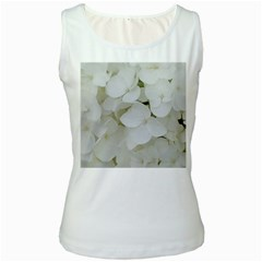 Hydrangea Flowers Blossom White Floral Photography Elegant Bridal Chic  Women s White Tank Top by yoursparklingshop