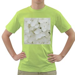 Hydrangea Flowers Blossom White Floral Photography Elegant Bridal Chic  Green T Shirt by yoursparklingshop
