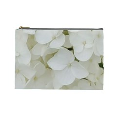 Hydrangea Flowers Blossom White Floral Photography Elegant Bridal Chic  Cosmetic Bag (large)  by yoursparklingshop
