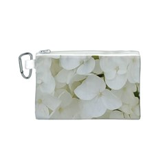 Hydrangea Flowers Blossom White Floral Photography Elegant Bridal Chic  Canvas Cosmetic Bag (s) by yoursparklingshop
