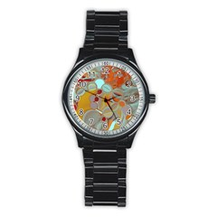 Liquid Bubbles Stainless Steel Round Watch by theunrulyartist