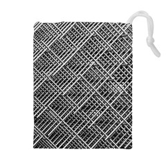 Pattern Metal Pipes Grid Drawstring Pouches (extra Large) by Nexatart