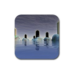 Abstract Gates Doors Stars Rubber Square Coaster (4 Pack)  by Nexatart