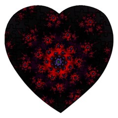 Fractal Abstract Blossom Bloom Red Jigsaw Puzzle (heart) by Nexatart