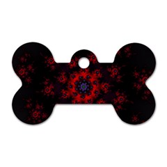 Fractal Abstract Blossom Bloom Red Dog Tag Bone (two Sides) by Nexatart