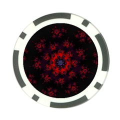 Fractal Abstract Blossom Bloom Red Poker Chip Card Guard (10 Pack) by Nexatart