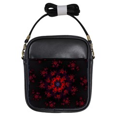 Fractal Abstract Blossom Bloom Red Girls Sling Bags by Nexatart