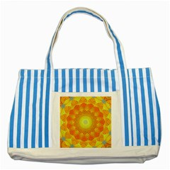 Sunshine Sunny Sun Abstract Yellow Striped Blue Tote Bag by Nexatart