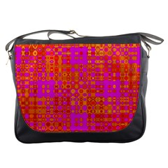 Pink Orange Bright Abstract Messenger Bags by Nexatart
