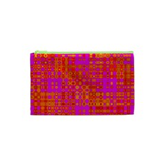 Pink Orange Bright Abstract Cosmetic Bag (xs) by Nexatart