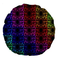 Rainbow Grid Form Abstract Large 18  Premium Round Cushions by Nexatart