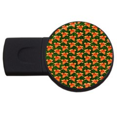 Background Wallpaper Flowers Green USB Flash Drive Round (4 GB) by Nexatart