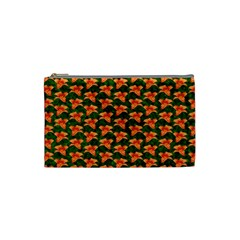 Background Wallpaper Flowers Green Cosmetic Bag (small)  by Nexatart