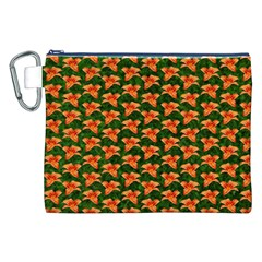 Background Wallpaper Flowers Green Canvas Cosmetic Bag (xxl) by Nexatart