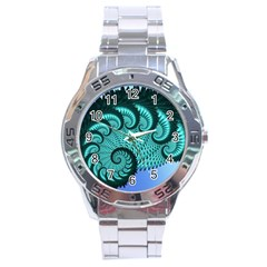 Fractals Texture Abstract Stainless Steel Analogue Watch by Nexatart