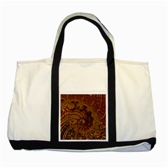 Copper Caramel Swirls Abstract Art Two Tone Tote Bag by Nexatart