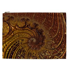Copper Caramel Swirls Abstract Art Cosmetic Bag (xxl)  by Nexatart