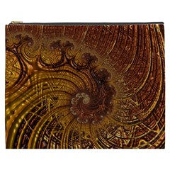 Copper Caramel Swirls Abstract Art Cosmetic Bag (xxxl)  by Nexatart