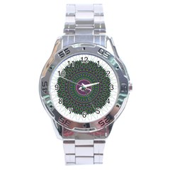 Pattern District Background Stainless Steel Analogue Watch by Nexatart