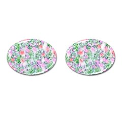 Softly Floral A Cufflinks (oval) by MoreColorsinLife