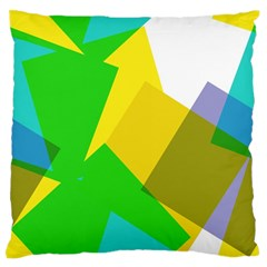 Green Yellow Shapes  Large Flano Cushion Case (two Sides) by LalyLauraFLM