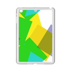 Green Yellow Shapes  Apple Ipad 3/4 Case (white) by LalyLauraFLM