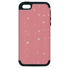 Pink Background With White Hearts On Lines Apple Iphone 5 Hardshell Case (pc+silicone) by TastefulDesigns