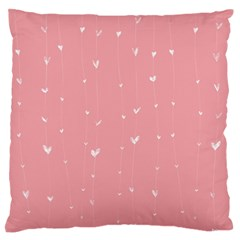 Pink Background With White Hearts On Lines Standard Flano Cushion Case (one Side) by TastefulDesigns