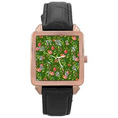 Sunny Garden I Rose Gold Leather Watch  by tarastyle