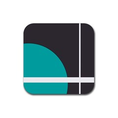 Turquoise Line Rubber Square Coaster (4 Pack)  by mugebasakart
