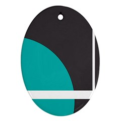 Turquoise Line Oval Ornament (two Sides) by mugebasakart