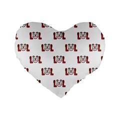 Lol Emoji Graphic Pattern Standard 16  Premium Heart Shape Cushions by dflcprints